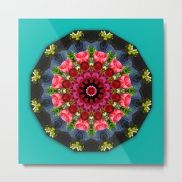 Red blossoms, Floral mandala-style Metal Print