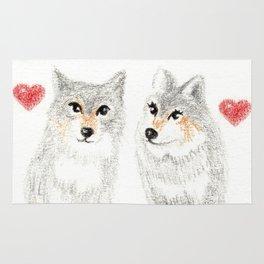 WOLVES IN LOVE / WOLF VALENTINE / WOLF PACK / WOLF LOVE Rug