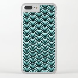 Japanese Waves Seigaiha Teal Clear iPhone Case