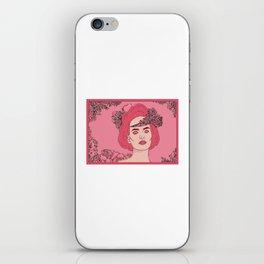 Pink Flower Girl Digital Drawing iPhone Skin