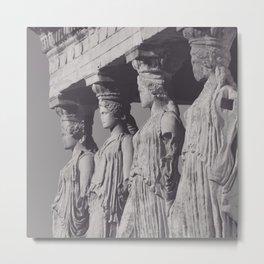 Caryatids of the Erechtheion, ancient greek, Athens agora, Erectheum, Greece photo,  Acropolis of Athens Metal Print