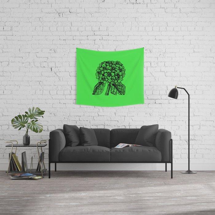 Green Hydrangea Wall Tapestry