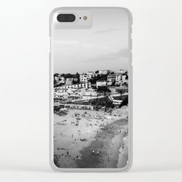 Carvoeiro town and beach in Lagoa, Algarve, Portugal. Black and White. Clear iPhone Case