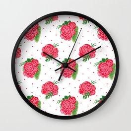 Modern red green watercolor roses floral polka dots Wall Clock