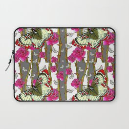 RED-YELLOW  ORIENTAL STYLE BUTTERFLIES & PINK ROSES GREY PATTERN DESIGN FROM SOCIETY6   BY SHARLESAR Laptop Sleeve