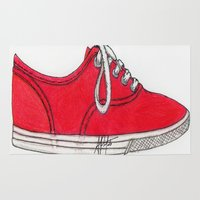 shoe Area & Throw Rugs featuring Red Shoe. by Alexis Pilato