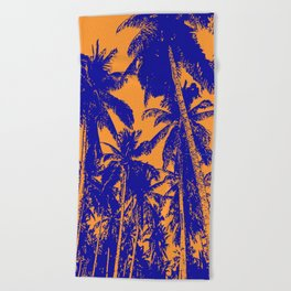 Palm Trees Design in Blue and Orange Beach Towel