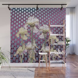 WHITE IRIS ON PUCE COLORED MODERN PATTERNS Wall Mural