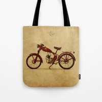 ducati Tote Bags featuring Ducati 60 1950 by Larsson Stevensem