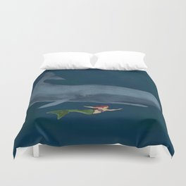 The Mermaid and Whale  Duvet Cover