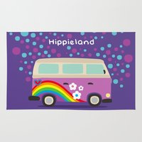 hippie Area & Throw Rugs featuring Hippie Land by Subcutaneo