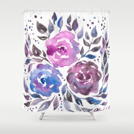 Dreamy Watercolor Flowers Shower Curtain