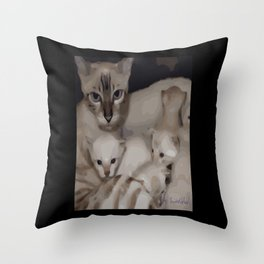 Luna the snow bengal cat and her kittens Throw Pillow