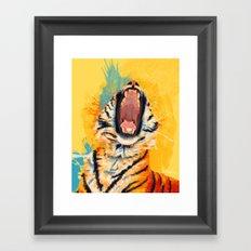 Wild Yawn - Tiger portrait Framed Art Print