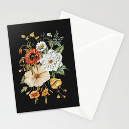Wildflower Bouquet on Charcoal Stationery Cards