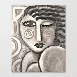 Summer Fun Abstract Charcoal Drawing of a Woman Canvas Print