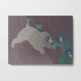 Japanese Wood Print - Maruyama Okyo - Morning Glories and Puppies (18th Century) Metal Print