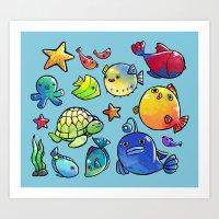Underwater friends ( Blue ver.) Art Print