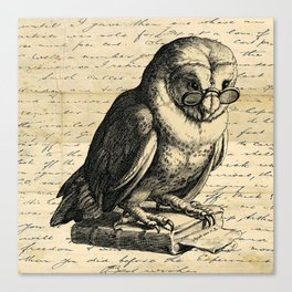 The Wise Owl - Vintage Art Canvas Print