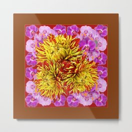 Abstracted Yellow Chrysanthemums Floral & Orchids Metal Print