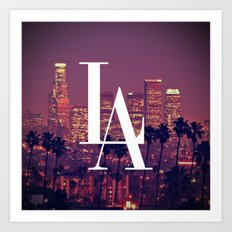 Downtown LA Vintage Skyline Typography Art Print