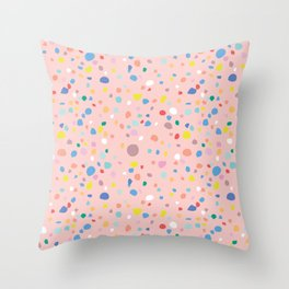 Postmodern Granite Terrazzo Large Scale in Pink Multi Throw Pillow