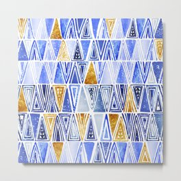 Blue Gold Geometrical Tribal Ethnic Triangles Pattern Metal Print