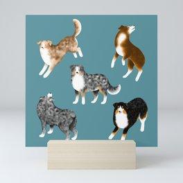 Australian Shepherd Pattern (Teal Background) Mini Art Print