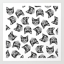 Black Mollycats Art Print