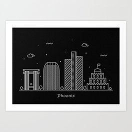 Phoenix Minimal Nightscape / Skyline Drawing Art Print