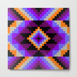 Geometric Diamond - Tangerine Violet Metal Print