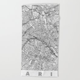 Paris Map Line Beach Towel