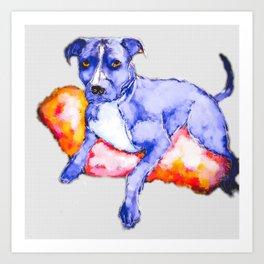 Faded Pitbull dog lounging painting Art Print