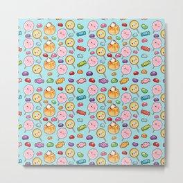 Modern girly pink colorful trendy cute sweet food pattern Metal Print