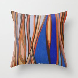 Retro Blues Browns Oranges Line Design with Pastels by annmariescreations Throw Pillow