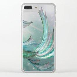 Mermaid, Ocean Sea, Pastel Purple,Teal, Green Clear iPhone Case