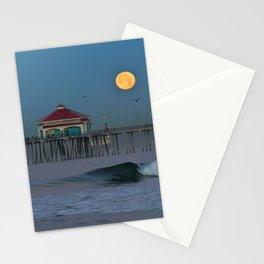 Huntington Beach Pier Moonset Stationery Cards