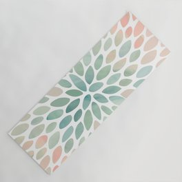Floral Bloom, Abstract Watercolor, Coral, Peach, Green, Floral Prints Yoga Mat