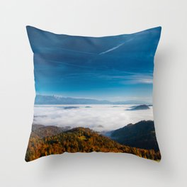 Autumn mountains and fog in the valley Throw Pillow