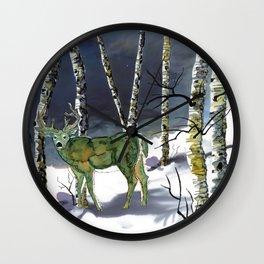 Winter deer - alcohol ink Wall Clock