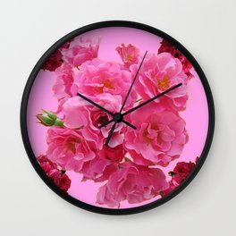 DECORATIVE FRILLY SCENTED PINK ROSE CLUSTERS ON PINK Wall Clock