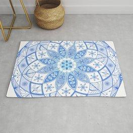 Blue Mandala Spirograph Art Pattern Design Rosette Rug