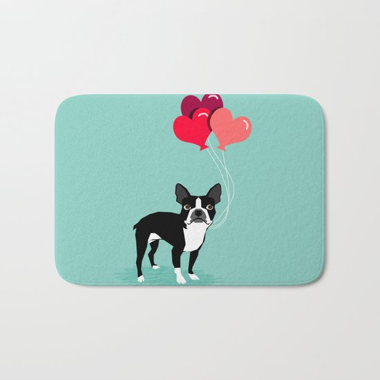 Boston Terrier Valentine heart balloons for pet owners and dog lovers gift for someone they love Bath Mat
