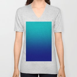 Cyan to Navy Blue Linear Gradient Unisex V-Neck