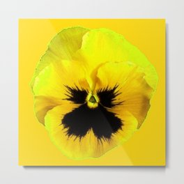 LARGE YELLOW  PANSY ON GOLDEN YELLOW COLOR Metal Print