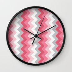 Chevron Pink & Grey Wall Clock