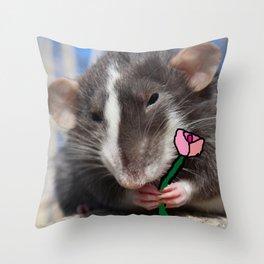 A rat's flower Throw Pillow