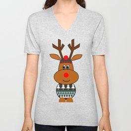 Reindeer in snow Unisex V-Neck