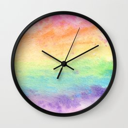 Watercolor Rainbow Wash Wall Clock