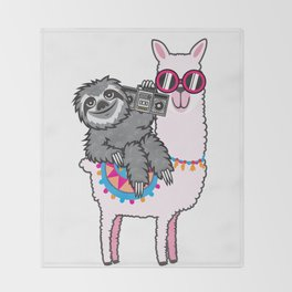 Sloth Music Llama Throw Blanket